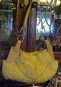 Rabbit fur purse, with pearls and chain