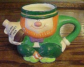 Ceramic Irish whiskey Leprechaun mug