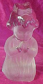 Viking, praying girl figure, frosted with clear glass