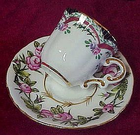 Miniature  cup and saucer set,  Victorias Garden, roses