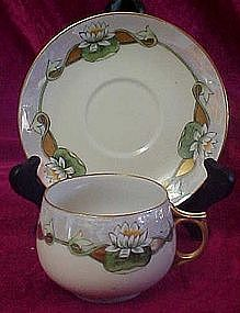 Vintage luseware cup and saucer set, water lilies