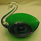 Duncan Miller swan candle holder, green & crystal