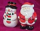 Ceramic Santa and Snowman salt & pepper shakers
