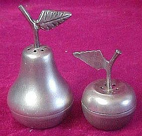 Brushed pewter pear and cherry salt & pepper shakers