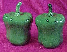 Large green bell pepper salt and pepper shakers