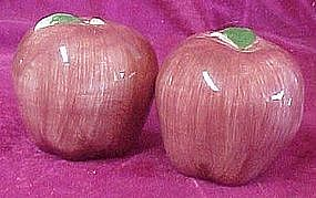 Hand painted red apple salt and pepper shakers