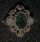 Vintage 1976 Versailles Ring by Avon, Emerald green