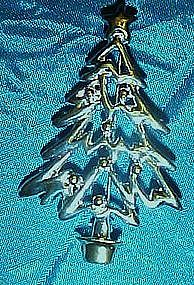 Silver Christmas tree pin