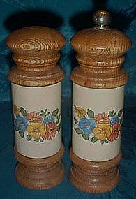 Tall ceramic and wood pepper grinder and salt shaker