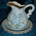 Water basin with matching pitcher, blue roses