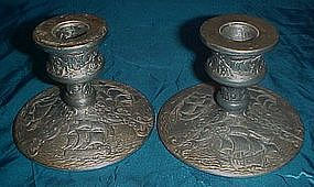 Antique metal candle holders, Nina ,Pinta, Santa Maria
