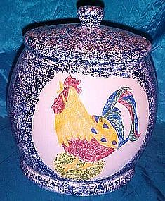 Youngs, ceramic sponge ware rooster cookie jar