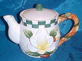 Hand painted ceramic Magnolia teapot, by Youngs