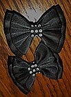 Black satin bows with rhinestones, shoe clips