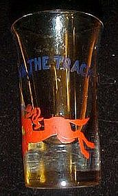 Down the track shot glass, horse racing, Jockey