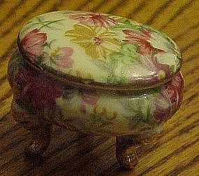 Three leg  floral chintz trinket box