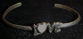 Sterling silver LOVE bracelet, mother of pearl accent