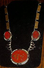 Vintage art deco inlaid enamel necklace,  over copper