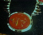 Vintage art deco inlaid enamel necklace,  over copper