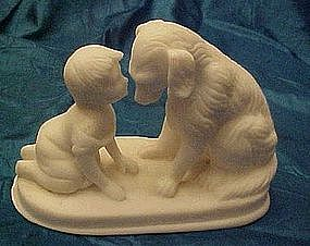Child and dog, salt / alabaster figure