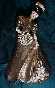 Vintage  hand made/ painted pottery lady figurine, 1954
