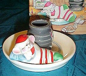 Avon Snuggly mouse candle holder,1983, boxed