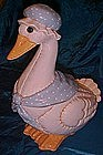Country quilted mother goose ceramic cookie jar