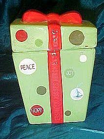 Hersheys Kisses Christmas present cookie jar