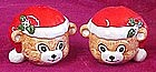Santa teddy bear heads, salt and pepper shakers