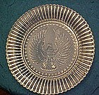 Old depression  clear glass Eagle plate, 48 stars