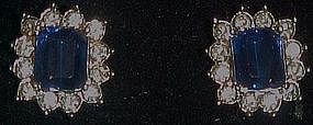 Avon Sapphire and rhinestone post earrings
