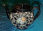 Old Chatsworth England glazed pottery teapot, florals
