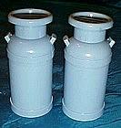 Blue plastic milk can salt