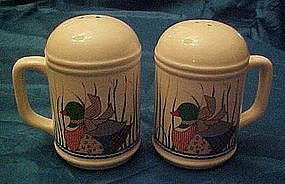 Calico Mallard duck salt and pepper shakers