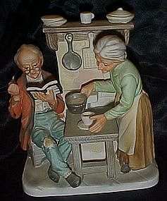 Lefton old man and woman in kitchen figurine, rare