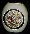 Art of Chokin porcelain vase with iris' and butterflies