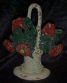 Antique iron flower basket door stop