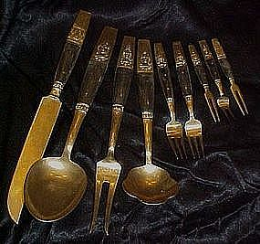 Tailand brass and teakwood serving utensils, flatware