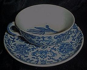 Vintage  blue Phoenix bird demi cup and saucer