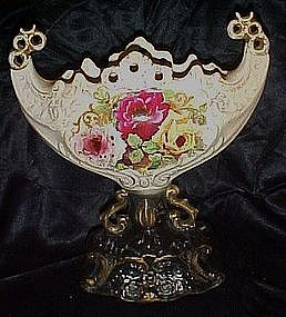 Antique Dresden vase with hand painted roses
