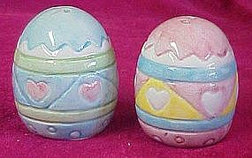 Colorful ceramic Easter egg salt and pepper set