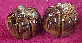 Fall harvest pumpkin gourd brown glaze shakers