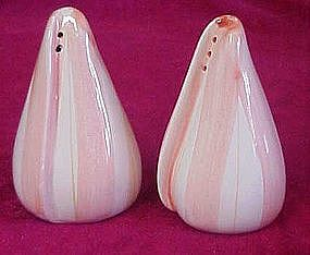 Pink and white sea shell salt and pepper shakers