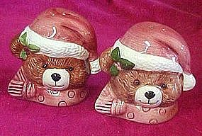 Ceramic Santa bear heads, salt and pepper shakers
