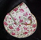Vintage rose chintz demitasse cup and saucer