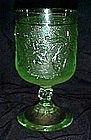 Indiana, tiara chantilly green goblet, sandwich glass