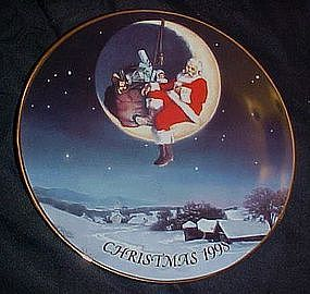 Avon annual Christmas plate, 1998, Greetings from Santa