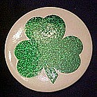 Large glittery  Irish shamrock pin back button