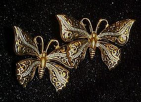 Double butterfly pin, very ornate