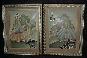 Sandre' lithos, framed pair, silhouette's, convex glass